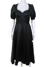 Self Portrait Womens Short Puff Sleeve Belted A Line Midi Gown Black Size 4