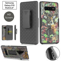 for Samsung Galaxy S10 +PLUS Holster Shell Combo Camo Case, Belt Clip & Screen