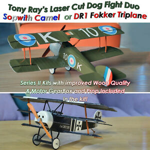 L/Cut Balsa Radio Control Aircraft Kit DR1 Fokker Triplane ,Sopwith Camel & ACCs