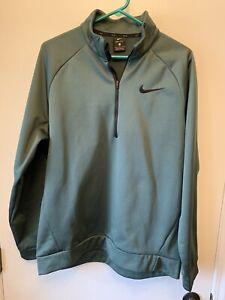 Nike Dri Fit 1/4 Zip Mens L Pullover Sz Large Green