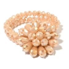 New Arrival - Simulated Peach Sunstone Floral Stretchable Bracelet (Size 6.5)