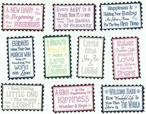 10 Cute NEW BABY Mini Quote Toppers Greeting Card Craft Scrapbook Messages*NEW*