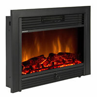 """28.5"""" Embedded Fireplace Electric Insert Heater Glass View Log Flame Remote Home"""