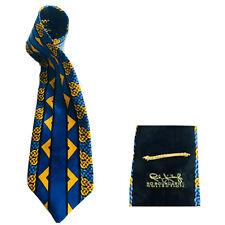 RUSH LIMBAUGH ART DECO NOUVEAU WOVEN CHAIN BLUE GOLD BLACK SILK NECKTIE NECK TIE