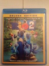Rio 2 3D(Blu-ray/DVD,2014,3-Disc,Deluxe Edition 3D/2D)Authentic Disney