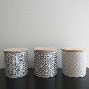 Set of 3 Grey Embossed Ceramic Tea Sugar coffee Pots Kitchen Storage Canisters