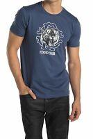 Roberto Cavalli HST618 A475 04926 Tiger Graphic Crew Neck Cotton T-Shirt NAVY