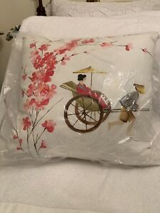 Chinese Rickshaw Hand Painted Pillow Brand-New in package
