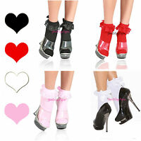 💟RUFFLE ANKLE SOCKS Lace SATIN BOWS School Girl Costume DANCEWEAR