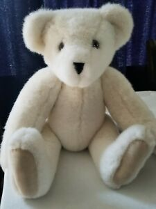 """Vintage 1991 The VERMONT TEDDY Co BEAR PLUSH Off White Jointed BEAR 18"""" Poseable"""