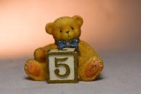 Cherished Teddies: Number 5 - Bear with 5 Block - Miniature Figure