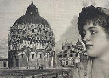 ORIGINAL ART Antique Victorian salvage industrial Architectural Italy Pisa tower