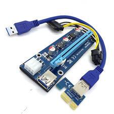 usb3.0 PCI-E Express 1x to 16x Extensor Elevador Tarjeta Adaptador SATA 6 Pines