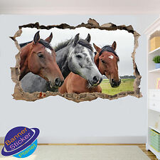 THREE BEAUTIFUL HORSES 3D ART WALL STICKER ROOM OFFICE DECOR DECAL MURAL ZK5