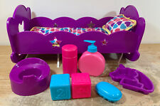 """Baby Doll Purple Hearts Stars 15"""" Rocking Cradle Bed Plastic With Accessories"""