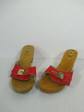 Dr Scholl Shoes High Heel Sandal Wood Red Leather Vtg Retro 1970s Italy Size 38