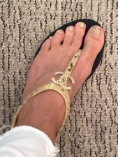 CHANEL Gold Sandals Size 35.5 In Great Condition