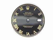 Rolex Mens Datejust 2Ton or S-S Glossy Black Color Roman Numral Dials