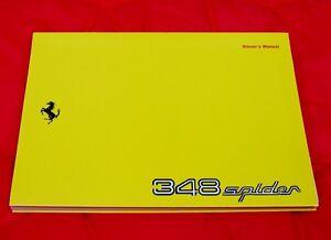 Ferrari 348 Spider RARE Original Owners Handbook USA - 1995 Ita/Eng/Fra/Ger Text