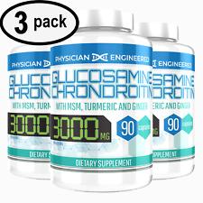 Glucosamine Chondroitin COLLAGEN TYPE II 2 MSM Turmeric 3000MG 90ct - 3 PACK