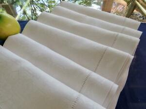 "12 Antique Irish Linen 22"" Napkins Art Deco Damask Beautiful Wide Hand Hemstitch"