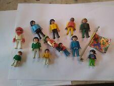 Old Playmobil action figures (12 + flag) 1974 to 1990, plastic