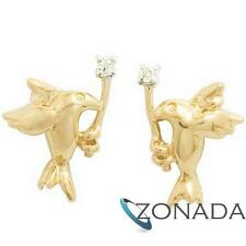 Diamond Peace Dove 9k Solid Yellow Gold Stud Earrings 54990