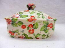 small strawberry vintage chintz design butterdish by Heron Cross Pottery