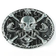 Belt Buckle Vintage Silver Western Gothic Skull Head Skeleton Snake