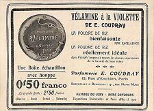"""PARIS PARFUMERIE COUDRAY """" VELAMINE A LA VIOLETTE """" PUBLICITE 1906"""