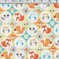 FOREST ANIMALS Fox Raccoon Owl Squirrel Fabric