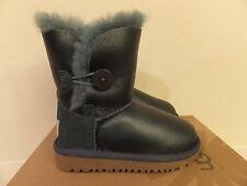 Toddler 9 UGG Girls Bailey Button Metallic Sheepskin Slip On Winter Boots Green