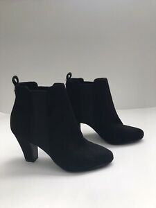 """BCBGeneration """"Donahue"""" Black Suede Heeled Booties Ankle Boots Women's Size 7.5M"""