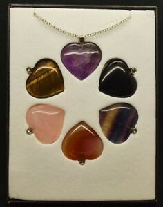 Interchangeable Gemstone Love Heart Pendant with silver plated chain (boxed)