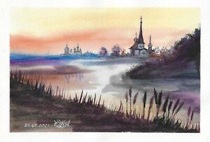 original painting A4 130RK art samovar watercolor modern landscape sunset