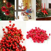 100X Artificial Pomegranate Fruit Berries Christmas Red Cherry Stamen Decoration