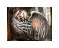 Art Painting Drawing Fantasy Winged Warrior Sword Fire Canvas Print