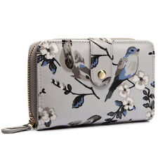 Moda para Mujeres y Niñas Mate Hule Bolso Cartera moneda de impresión de pequeñas aves Flores