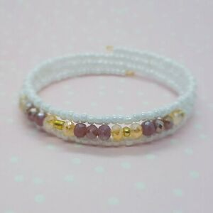 Simple Bead Layering Bracelet ~ White Pink Purple Gold ~ Perfect for Summer