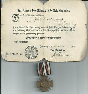 Deutsches Reich 1936  Ehrenkreuz für Frontkämpfer  mit Urkunde.