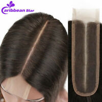 Brazilian Straight Wave Lace Front 2x6'' Middle Part Closure Virgin Human Hair