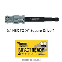 "1x SabreCut Impact Driver 15 Degree Tilt Socket Adaptor HEX to 1/2"" SQUARE DRIVE"