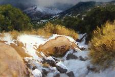 "Lorenzo Chavez ""New Mexico Arroyo"" Original Pastel Drawing, mountains Framed OBO"