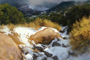"Lorenzo Chavez ""New Mexico Arroyo"" Original Pastel Drawing, mountains Framed"
