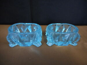 Set of 2 ANTIQUE Vintage BLUE  GLASS OPEN SALT Dish Cellar Formal Dinner