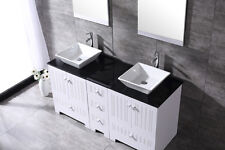 60'' Double Bathroom Vanity Cabinet Tempered Solid Wood Glass Sinks Mirror Top