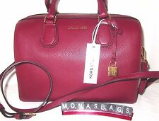 Michael Kors Cherry Leather Medium Mercer Satchel Duffle Bag With Strap NWT $298