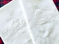 VTG King Madeira Fine Linens Pillowcases/Shams CUTWORK EMBROIDERY Flowers UNUSED