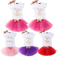 Baby Girl Kids First/Second Birthday Romper Outfit Set Dress Tutu Skirt Headband