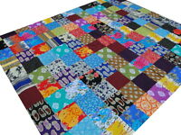 Quilt King Bedspread Indian Patchwork Block printed Cotton Blanket India Boho A1